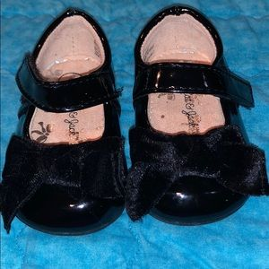Cat & Jack size 2 infant black shiny dress shoes